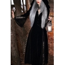 Sexy Women New Vintage Style Long Sleeve Lace Panel Hooded Witch Cloak Dress Coat