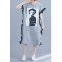 Womens Round Neck Short Sleeve Character Letter Print Hybrid Panelled Gray Loose Shift T-Shirt Maxi Dress