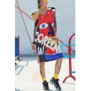 New Trend V-Neck Sleeveless Character Graffiti Print Letter Slit Midi Shift T-Shirt Tank Dress