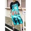 Fashion Street Style Round Neck Short Sleeve Letter Print Slit Loose Shift T-Shirt Maxi Dress