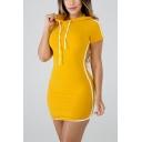 New Fashion Sports Leisure Hoodie Short Sleeve Contrast Piping Plain Sweatshirt Bodycon Mini Dress