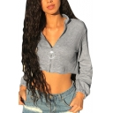 New Fashion Simple Basic Gray Plain Long Sleeve Zip Up Cropped Sweatshirt