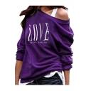Popular Womens LOVE Letter Printed One Shoulder Long Sleeve Casual Sweatshirt