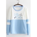 Little Cats Letter Cute Cat Printed Color Block Patchwork Striped Round Neck Long Sleeve Cotton Sweatshirt