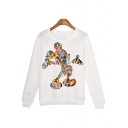 Mickey Mouse Cartoon Printed Round Neck Long Sleeve Pullover Sweatshirt