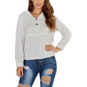 New Popular Plain Lapel Button Detail Long Sleeve Pullover Hoodie
