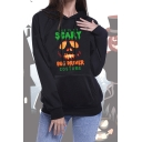 Fashion Halloween This Is My Scary Letter Printed Long Sleeve Black Hoodie