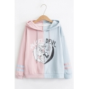 ANGEL DEVIL Letter Cartoon Character Printed Color Block Stripe Long Sleeve Leisure Hoodie