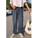 Guys Trendy Letter Printed  Blue Wide Leg Jeans Denim Pants