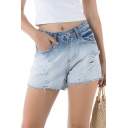 Stylish Light Blue Ripped Fringe Hem Colorblock Loose Straight Denim Shorts