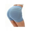 Hot Sexy Plain High Waist Button Front Fake Pocket Skinny Fitted Peach Hip Denim Shorts