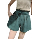 Summer Sweet Cute Paperbag Waist Bow-Tie Polka Dot Printed Loose Wide Leg Shorts