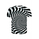 Hot Popular Summer White Short Sleeve Round Neck Striped Chain Whirlpool Printed Casual Loose Mens Black and White T-Shirt