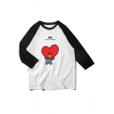 Popular Kpop Boy Band Cartoon Printed Raglan Sleeve Round Neck Colorblock Loose Leisure Tee