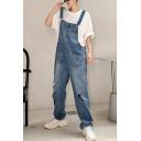 Men's New Fashion Simple Plain Cool Knee Cut Loose Fit Denim Blue Ripped Jeans Multi-pocket Bib Overalls