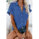 Solid Color Rolled Sleeve Button Down Chest Pocket Front Casual Loose Shirt