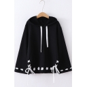 Trendy Long Flared Sleeve Cat Printed Lace Up Front Casual Loose Pullover Hoodie