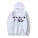 White Long Sleeve Letter Printed Pullover Loose Hoodie