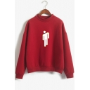New Trendy Long Sleeve Mock Neck Cartoon Figure Puppet Printed Casual Loose Pullover Sweatshirt