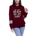 Womens Stylish Striped Long Sleeve Letter Rainbow Flag Heart Printed Straight Pullover Hoodie