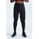 Men's New Fashion Simple Plain Drawstring Waist Casual Loose Fit Black Fitness Sweatpants