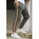 Men's Popular Fashion Pinstripe Pattern Contrast Stripe Side Drawstring Waist Casual Slim Cotton Pencil Pants