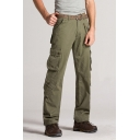 Men's Popular Fashion Solid Color Utility Multi-pocket Straight Cargo Pants
