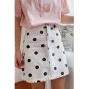 Summer Sweet Cute High Waist Polka Dot Printed Fitted Mini A-Line Skirt