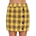 Hot Trendy Yellow Single Breasted Check Printed Holiday Mini Slim Fit Skirt
