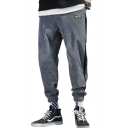 New Fashion Label Patch Colorblock Patched Side Loose Fit Elastic Cuffs Mens Casual Sports Corduroy Tapered Pants