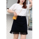 Summer Trendy Plus Size Black High Waist Mesh Lace Patch Mini Denim Skirt