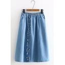 Summer Trendy Plain Burnout Elastic Waist Single Breasted Midi A-Line Denim Skirt