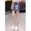 New Arrival Chic High Waist Distress Letter Wing Printed Raw Hem Mini Denim Skirt
