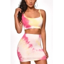 Summer Hot Sale Straps Sleeveless Tee with High Waist Mini Skirt Tie Dye Slim Fitted Two Piece Set