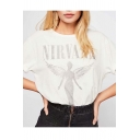 NIRVANA Letter Angel Wing Printed Short Sleeve Round Neck White T Shirt