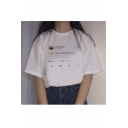 Summer White Short Sleeve Round Neck I WISH I HAD A FRIEND LIKE ME Letter Printed Fancy Tee