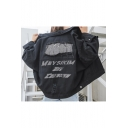 Cool Letter Embroidery Sequined Patch Back Ripped Black Button Denim Coat Jacket