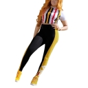 Womens Trendy Vertical Stripe Printed Short Sleeve Crop Tee with Slim Fit Pants Two-Piece Co-ords