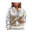 Womens New Trendy Contrast Striped Hem Rib Stand Collar Zip Up Sequined Jacket