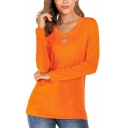 Womens Simple Star Print V-Neck Long Sleeve Knitted Slim T-Shirt