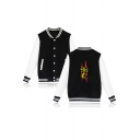 Cobra Snake Printed Rib Stand Collar Long Sleeve Color Block Button Down Baseball Jacket