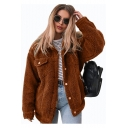Womens New Stylish Simple Plain Lapel Collar Long Sleeve Button Down Faux Fur Teddy Jacket