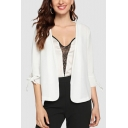Womens New Fashion Plain White Tied Cuff Three-Quarter Sleeve Short Blazer Coat