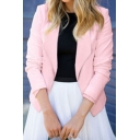Womens Hot Trendy Simple Plain Lapel Collar Long Sleeve Fitted Blazer Coat