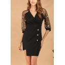 Office Lady V-Neck Sheer Sleeve Button Embellished Black Mini Pencil Dress