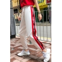 Drawstring Waist Letter Tape Side Hip Hop Style Tapered Track Pants