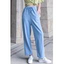 Summer Womens Light Blue Drawstring Waist Loose Wide-Leg Jeans Pants