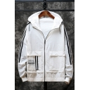 Men's Hot Fashion Letter FASHION WEAR Print Stripes Side Hooded Zip Up Sun Protection Casual Jacket Coat