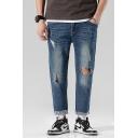 Men's Popular Fashion Cool Knee Cut Trendy Ripped Straight Jeans in Dark Blue