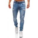 Men's New Fashion Solid Color Zip Embellished Drawstring Waist Stretched Slim Fit Denim Jeans